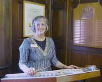 Alice Freeman and her hammered dulcimer at the Eppson Center for Seniors in Laramie