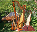 3 Harps, 3 hammered dulcimers, a violin and a viola